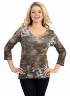 Katina Marie 3/4 Sleeve, Pre-Washed, Printed V-Neck, Multi Colored, Sleeve Foil Accented, Print Top - Landscape