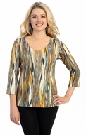 Katina Marie 3/4 Sleeve, Pre-Washed, Printed V-Neck, Multi Colored, Vertical Print Design, Print Top - Newscape