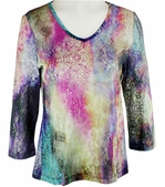 Katina Marie 3/4 Sleeve, Printed Lace, Pre-Washed, Sheer Scoop Neck Multi Colored Top - Rainbow Sky