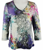Katina Marie 3/4 Sleeve, Printed Lace, Pre-Washed, Sheer Scoop Neck Multi Colored Top - Shades of Summer