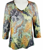 Katina Marie 3/4 Sleeve, Printed Lace, Pre-Washed, Sheer Scoop Neck Multi Colored Top - Sunset Breeze