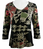 Katina Marie  3/4 Sleeve, Rhinestone Accents, Pre-Washed, Printed Cotton, V-Neck Black Top - Encounter