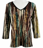 Katina Marie 3/4 Sleeve, Rhinestone Accents, Pre-Washed, Printed Cotton, V-Neck Multi Top - Summer Daze