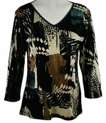 Katina Marie 3/4 Sleeve, Rhinestone Accents, Printed Cotton, Geometric Print, V-Neck Black Top - Downtown