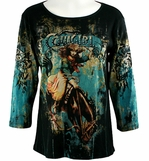 Katina Marie 3/4 Sleeve, Rhinestone Accents, Western Themed Pre-Washed, Printed Cotton, Scoop Neck Black Top - Cowgirl Wild West