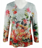 Katina Marie 3/4 Sleeve, Rhinestone Studded, Colorfully Printed V-Neck Multi-Colored Burnout Hi-Low Hem Top - Divine