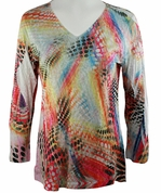 Katina Marie 3/4 Sleeve, Rhinestone Studded, Colorfully Printed V-Neck Multi-Colored Burnout Hi-Low Hem Top - Dotted Maze