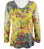 Katina Marie 3/4 Sleeve, Rhinestone Studded, Colorfully Printed V-Neck Multi-Colored Burnout Hi-Low Hem Top - Floral Palace