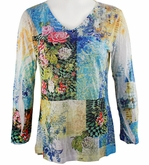 Katina Marie 3/4 Sleeve, Rhinestone Studded, Colorfully Printed V-Neck Multi-Colored Burnout Hi-Low Hem Top - Flower Patch