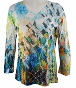 Katina Marie 3/4 Sleeve, Rhinestone Studded, Colorfully Printed V-Neck Multi-Colored Burnout Hi-Low Hem Top - Squared Away