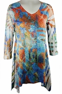 Katina Marie 3/4 Sleeve, Rhinestone Studded, Colorfully Printed V-Neck Multi-Colored Burnout Tunic  Top - Kaleidoscope