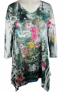 Katina Marie 3/4 Sleeve, Rhinestone Studded, Colorfully Printed V-Neck Multi-Colored Burnout Tunic  Top - Paris Scene