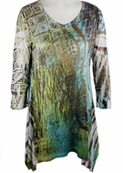Katina Marie 3/4 Sleeve, Rhinestone Studded, Colorfully Printed V-Neck Multi-Colored Burnout Tunic  Top - Sage Wind