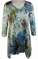 Katina Marie 3/4 Sleeve, Rhinestone Studded, Colorfully Printed V-Neck Multi-Colored Burnout Tunic  Top - Splash
