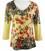 Katina Marie 3/4 Sleeve, Rhinestone Studded, Pre-Washed, Geometric Floral Print, V-Neck Yellow Colored Top - Flower Dynasty