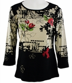 Katina Marie 3/4 Sleeve, Rhinestone Studded, Pre-Washed, Printed Cotton, Scoop Neck Black Colored Top - Orient Print