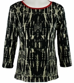Katina Marie 3/4 Sleeve, Rhinestone Studded, Pre-Washed, Printed Cotton, Scoop Neck Black Top - Jungle Blend