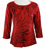 Katina Marie 3/4 Sleeve, Rhinestone Studded, Pre-Washed, Printed Cotton, Scoop Neck Red Colored Top - Feather Mesh