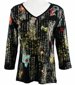Katina Marie 3/4 Sleeve, Rhinestone Studded, Pre-Washed, Printed Cotton, V-Neck Black Colored Top - Asian Scroll