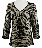 Katina Marie 3/4 Sleeve, Rhinestone Studded, Pre-Washed, Printed Cotton, V-Neck Black Colored Top - Tropical Jungle
