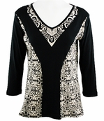 Katina Marie 3/4 Sleeve, Rhinestone Studded, Pre-Washed, Printed Cotton, V-Neck Black Colored Top - Wy Design
