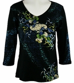 Katina Marie 3/4 Sleeve, Rhinestone Studded, Pre-Washed, Printed Cotton, V-Neck Black Top - Floral Chain