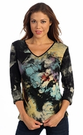 Katina Marie 3/4 Sleeve, Rhinestone Studded, Pre-Washed, Printed Cotton, V-Neck Black Top - Floral Splash