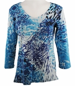Katina Marie 3/4 Sleeve, Rhinestone Studded, Pre-Washed, Printed Cotton, V-Neck Blue Colored Top - Oceanaire