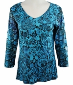 Katina Marie 3/4 Sleeve, Rhinestone Studded, Pre-Washed, Printed Cotton, V-Neck Blue Colored Top - Shades of Blue