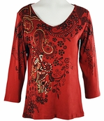 Katina Marie 3/4 Sleeve, Rhinestone Studded, Pre-Washed, Printed Cotton, V-Neck Brick Red Colored Top - Golden Scroll