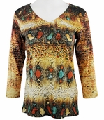 Katina Marie 3/4 Sleeve, Rhinestone Studded, Pre-Washed, Printed Cotton, V-Neck Multi-Colored Top - Diamond Back