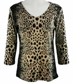 Katina Marie 3/4 Sleeve, Rhinestone Studded, Pre-Washed, Printed Cotton, V-Neck Multi Colored Top - Foiled Spots
