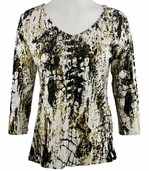 Katina Marie 3/4 Sleeve, Silver Foiled, Pre-Washed, Printed Cotton, V-Neck Multi-Colored Top - Golden Patch