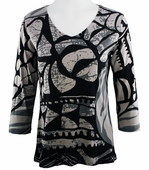 Katina Marie 3/4 Sleeve, Rhinestone Studded, Pre-Washed, Printed Cotton, V-Neck Multi-Colored Top - Illusions