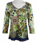 Katina Marie 3/4 Sleeve, Rhinestone Studded, Pre-Washed, Printed Cotton, V-Neck Multi-Colored Top - Optic Revival
