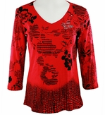 Katina Marie 3/4 Sleeve, Rhinestone Studded, Pre-Washed, Printed Cotton, V-Neck Red Colored Top - Floral Squares