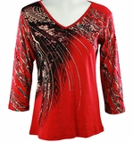 Katina Marie 3/4 Sleeve, Rhinestone Studded, Pre-Washed, Printed Cotton, V-Neck Red Top - Crystal Fall