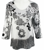 Katina Marie 3/4 Sleeve, Rhinestone Studded, Pre-Washed, Printed Cotton, V-Neck White Colored Top - Floral Squares