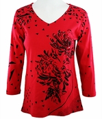 Katina Marie 3/4 Sleeve, Rhinestone Studded, Pre-Washed, Western Themed, Scoop Neck Red Colored Top - Scattered Spots