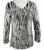 Katina Marie 3/4 Sleeve, Rhinestone Studded, Printed V-Neck Multi-Colored Burnout Hi-Low Hem Top - Zebra Stripes