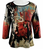 Katina Marie 3/4 Sleeve, Rhinestone Studded, Western Style Pre-Washed, Printed Cotton, Scoop Neck Black-Colored Top - Cowgirl