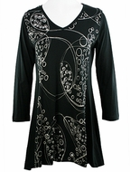 Katina Marie 3/4 Sleeve, Sharkbite Hem, Rhinestone Accents, Printed Cotton, Scoop Neck Black Tunic Top - Bubbles