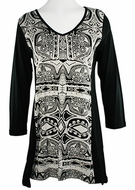 Katina Marie 3/4 Sleeve, Sharkbite Hem, Rhinestone Accents, Printed Cotton, Scoop Neck Black Tunic Top - Geo Maze