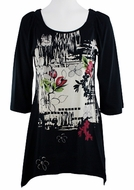 Katina Marie 3/4 Sleeve, Sharkbite Hem, Rhinestone Accents, Printed Cotton, Scoop Neck Black Tunic Top - Orient Print