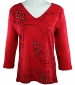 Katina Marie 3/4 Sleeve, Silver Stud Accents, Pre-Washed, Printed Cotton, V-Neck Red Top - Bubbles