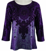 Katina Marie 3/4 Sleeve, Swarovski Crystal Studded, Pre-Washed, Scoop Neck Purple Colored Top - Radiance