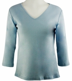 Katina Marie - Baby Blue Colored 3/4 Sleeve V-Neck Cotton Top