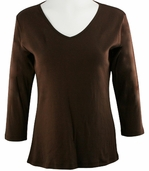Katina Marie Brown Colored 3/4 Sleeve V-Neck Cotton Top