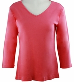Katina Marie Coral Colored 3/4 Sleeve V-Neck Cotton Top