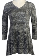 Katina Marie - Geo Shades 3/4 Sleeve Cotton Model Print Burnout Tunic Top